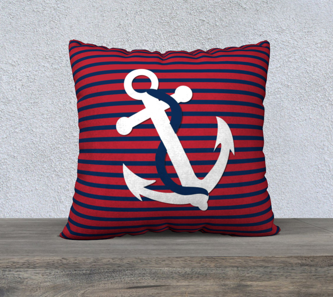 Anchor Pillow White Anchor on Red and Blue Stripes preview #1