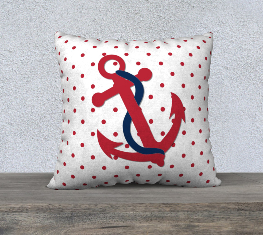 Red Anchor on Red and White Polka Dots preview #1