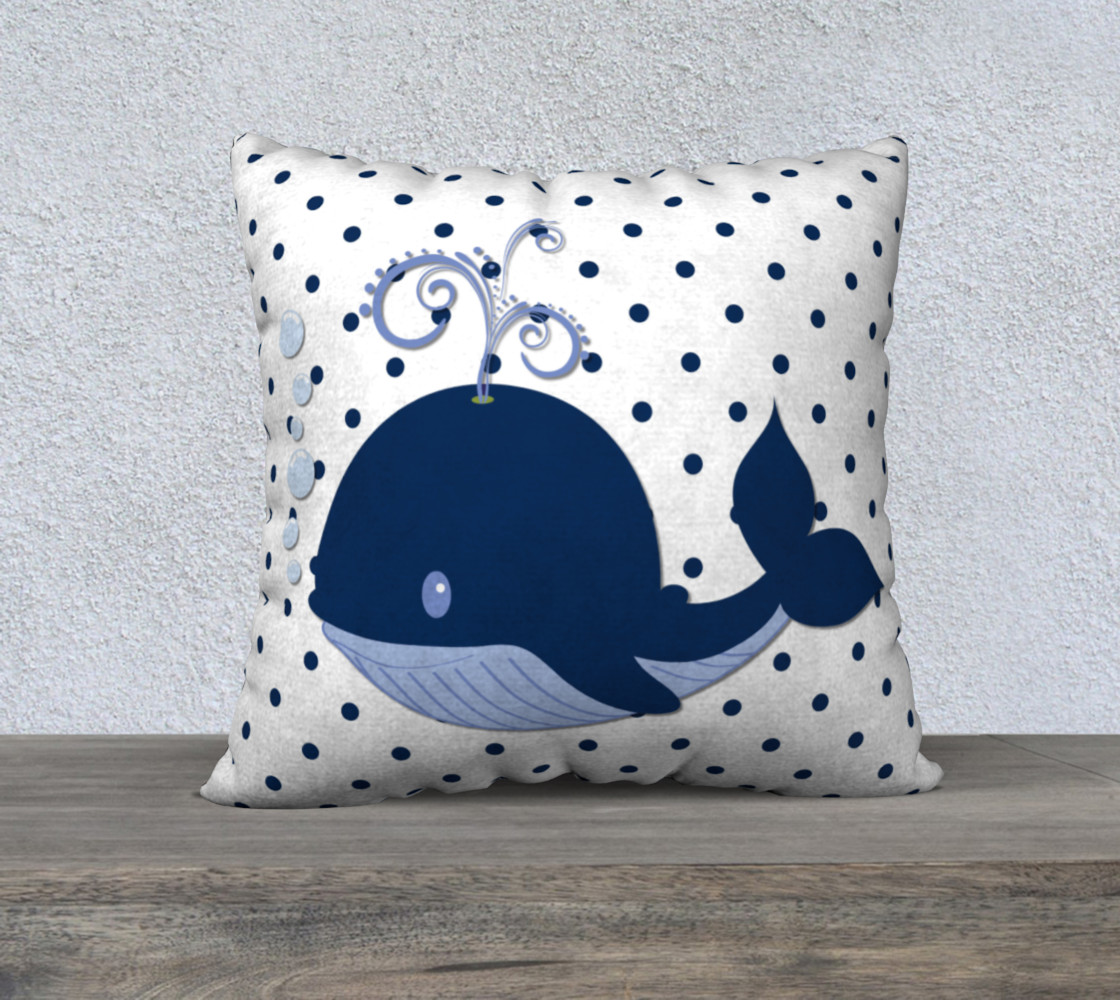 Whale on Blue and White Polka Dots preview #1