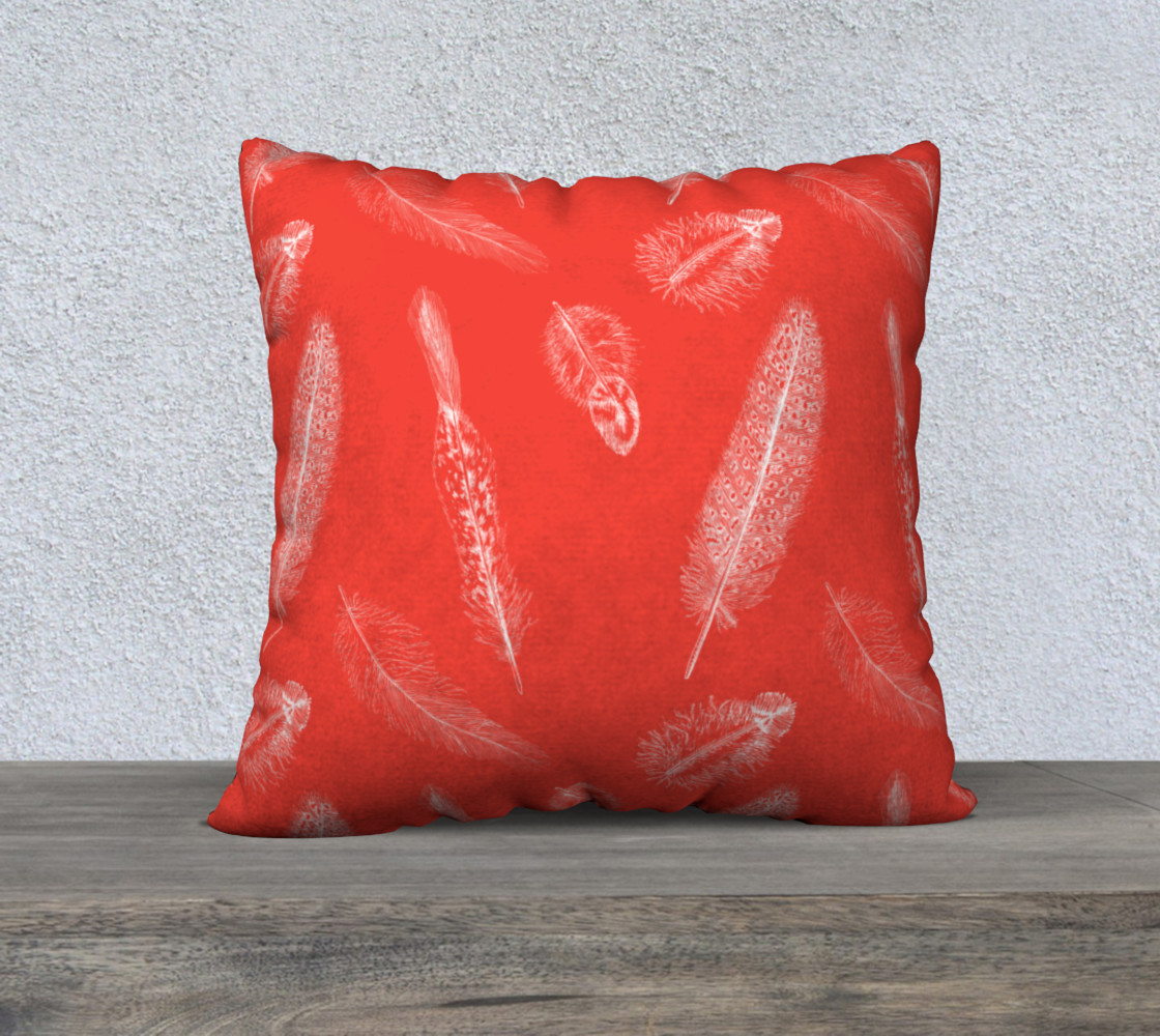 Aperçu de Feather Pattern Red Pillow  #1