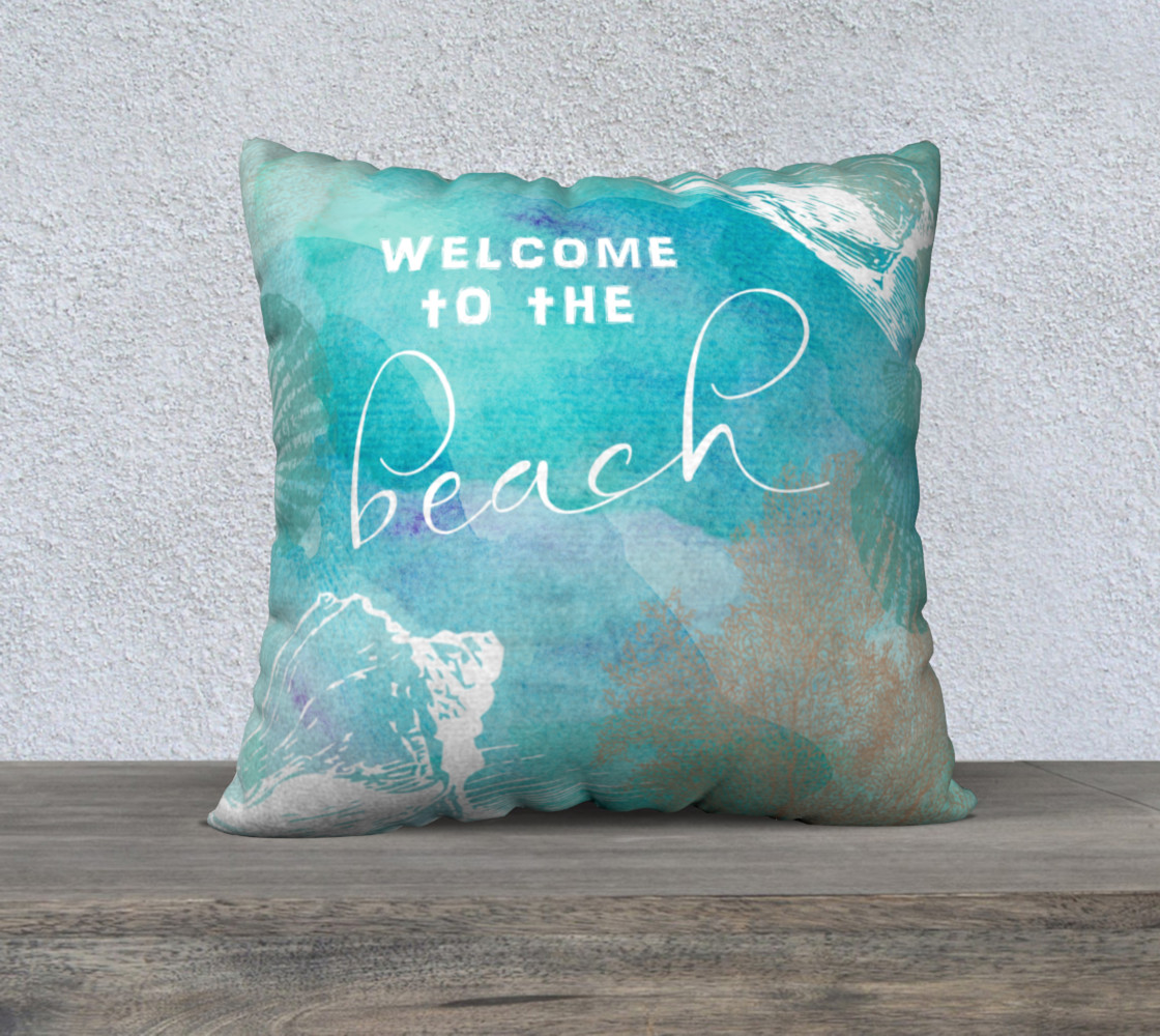 "welcome to the beach 22"" printed back 3D preview"