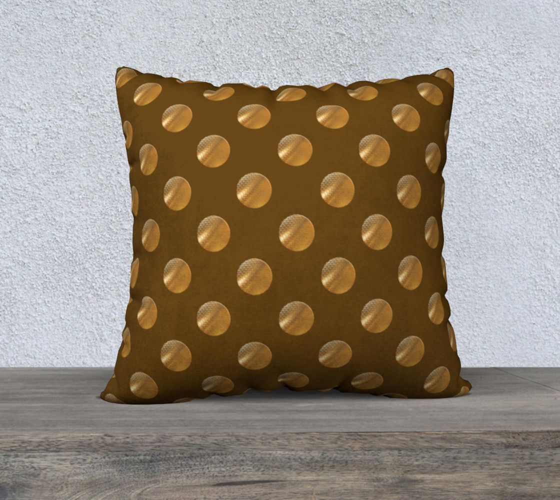 Polka dots golden seamless pattern 3D preview