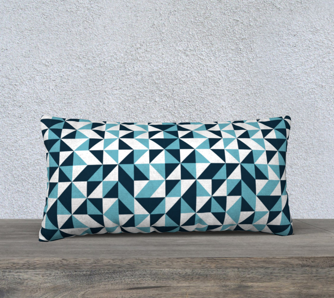 Blue Triangles 24x12 Pillow Case preview #1