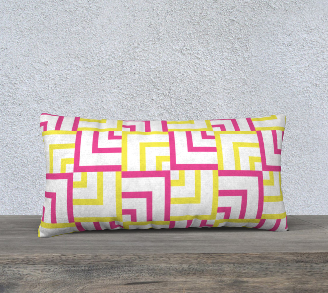 Pink and Yellow Squares 24x12 Pillow Case preview #1