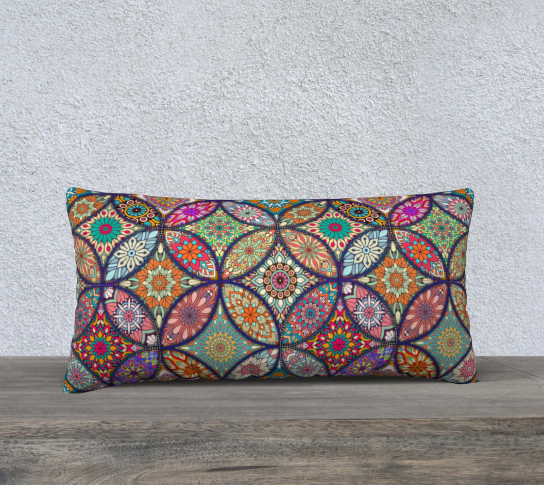 "Vibrant Mandalas 24"" x 12"" Decorative Pillow Case preview #1"