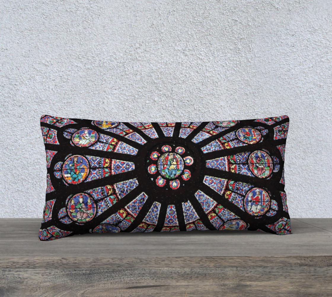 """Rose South Window, Notre Dame Paris 24"""" x 12"""" Decorative Pillow Case preview #1"""