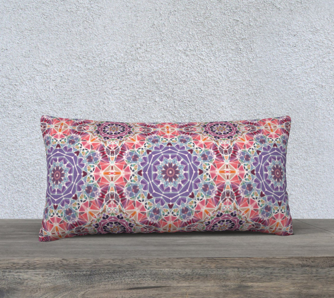 """Purple and Pink Kaleidoscope 24"""" X 12"""" Decorative Pillow Case preview #1"""
