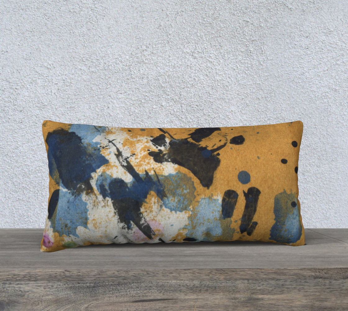 "24 x 12"" ocher and blue abstract pillow preview #1"