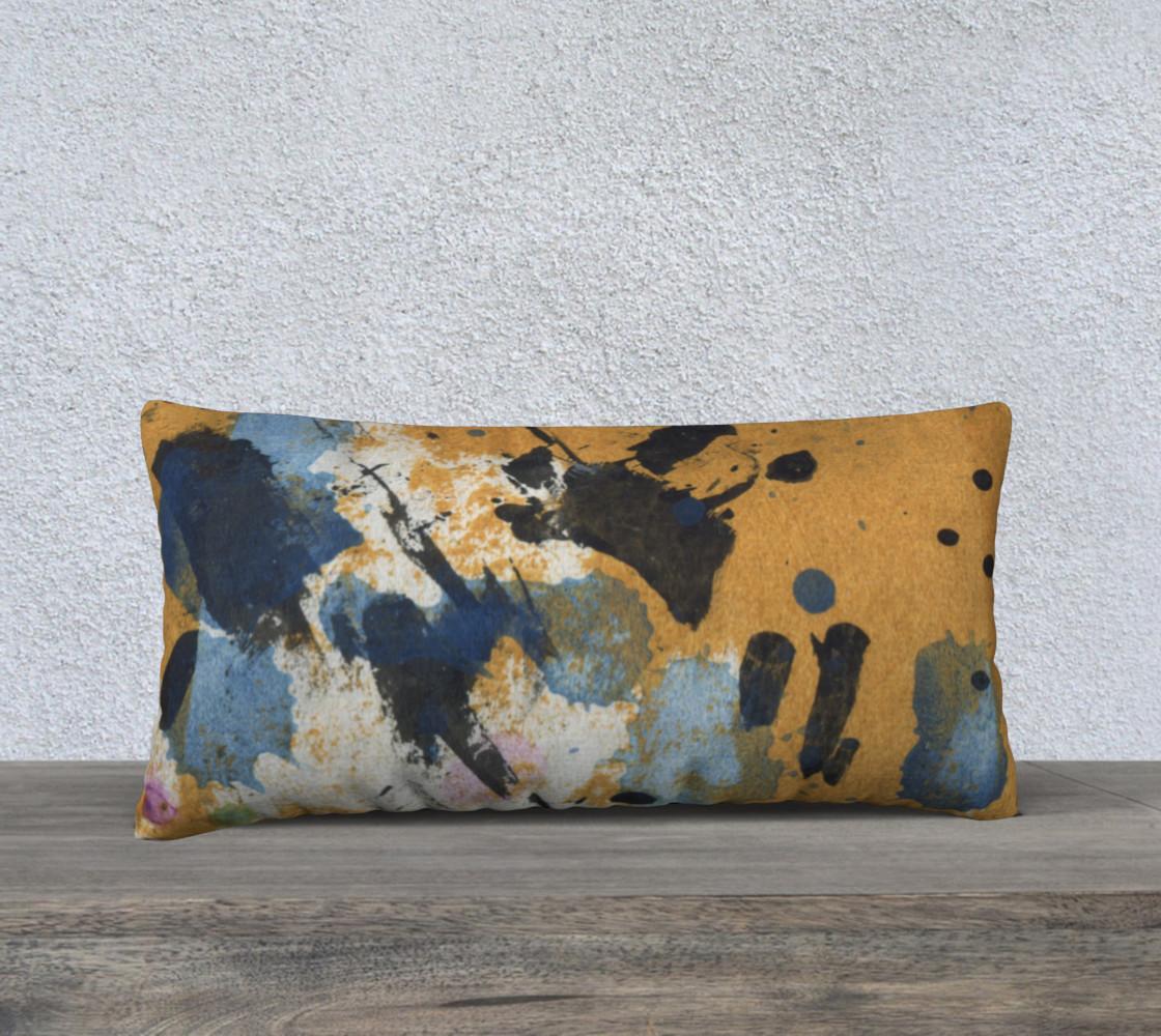 """Aperçu de 24 x 12"""" ocher and blue abstract pillow #1"""