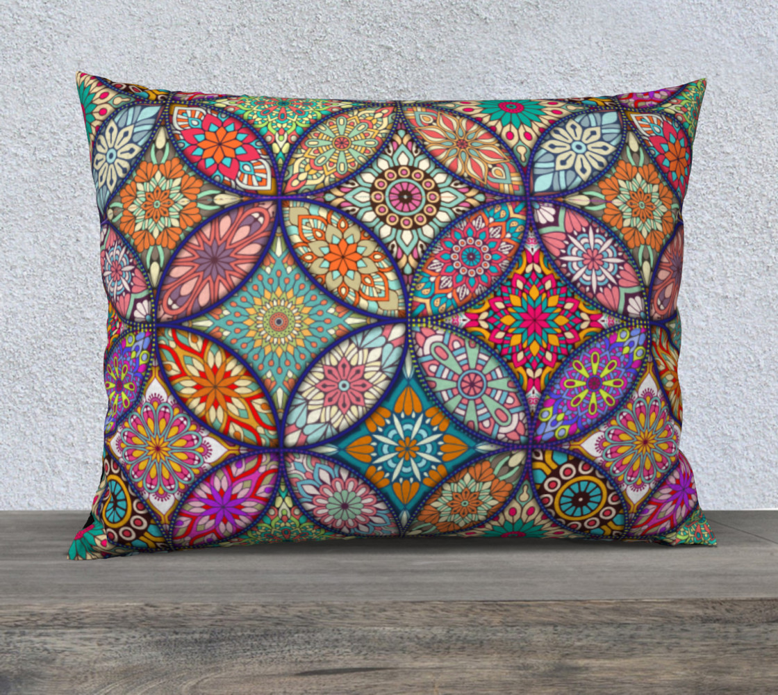 "Vibrant Mandalas 26"" x 20"" Decorative Pillow Case preview #1"