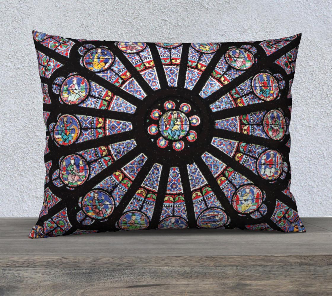 """Rose South Window, Notre Dame Paris 26"""" x 20"""" Decorative Pillow Case preview #1"""