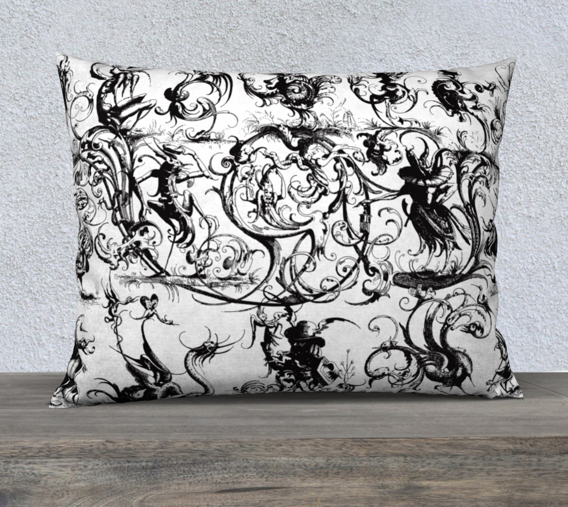 "Grotesques W&B - 26"" x 20"" Pillow Miniature #2"