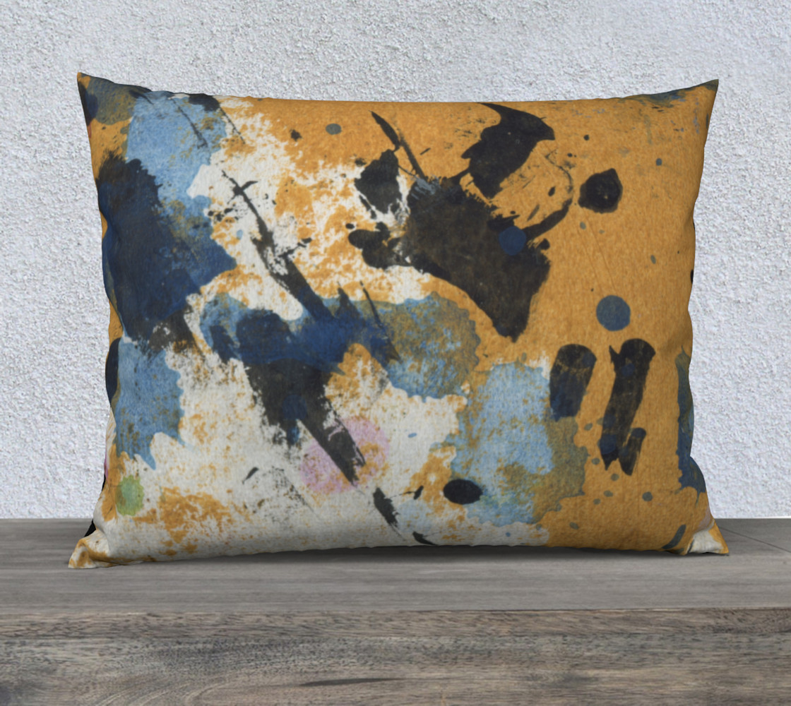 ocher and blue 26 x 20 pillow preview #1