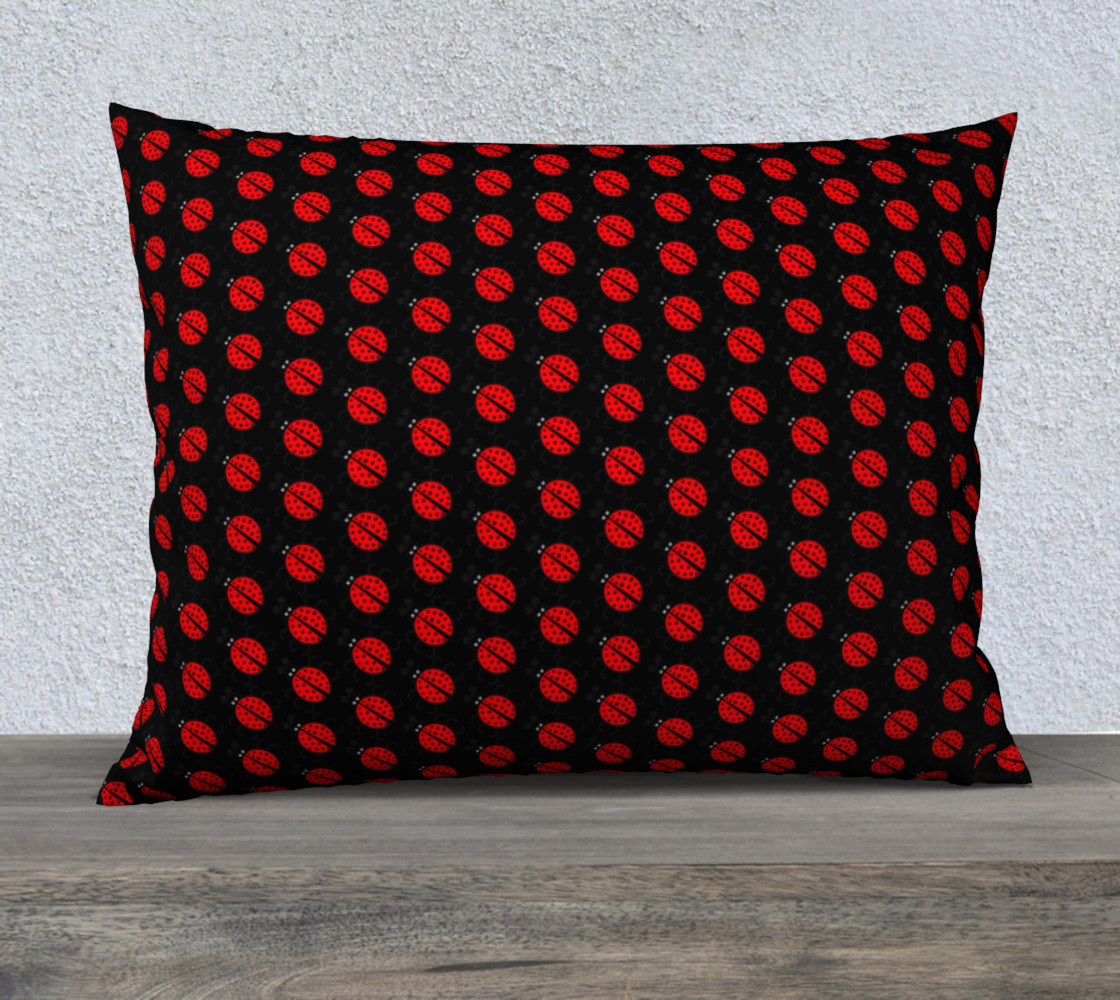Ladybugs Pattern-Black Pillow Case preview #1