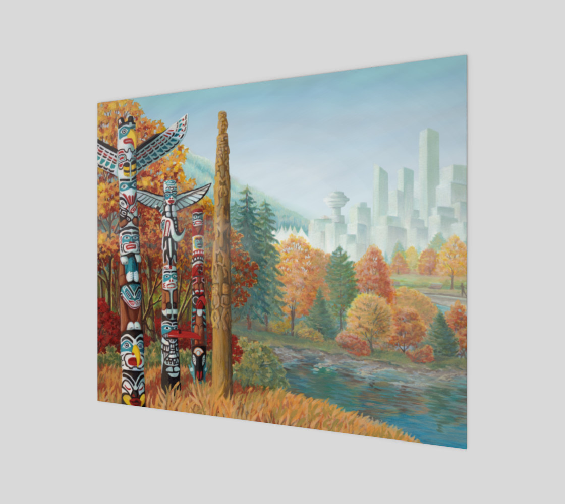 Vancouver Totem Landscape Cityscape Painting Printed on Canvas preview #1