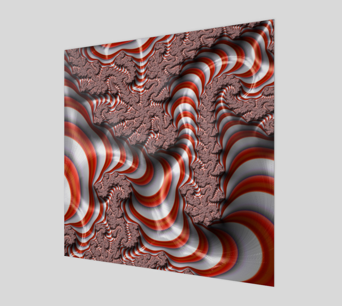 Candy Cane Fractal Wall Art Wood Print preview #1