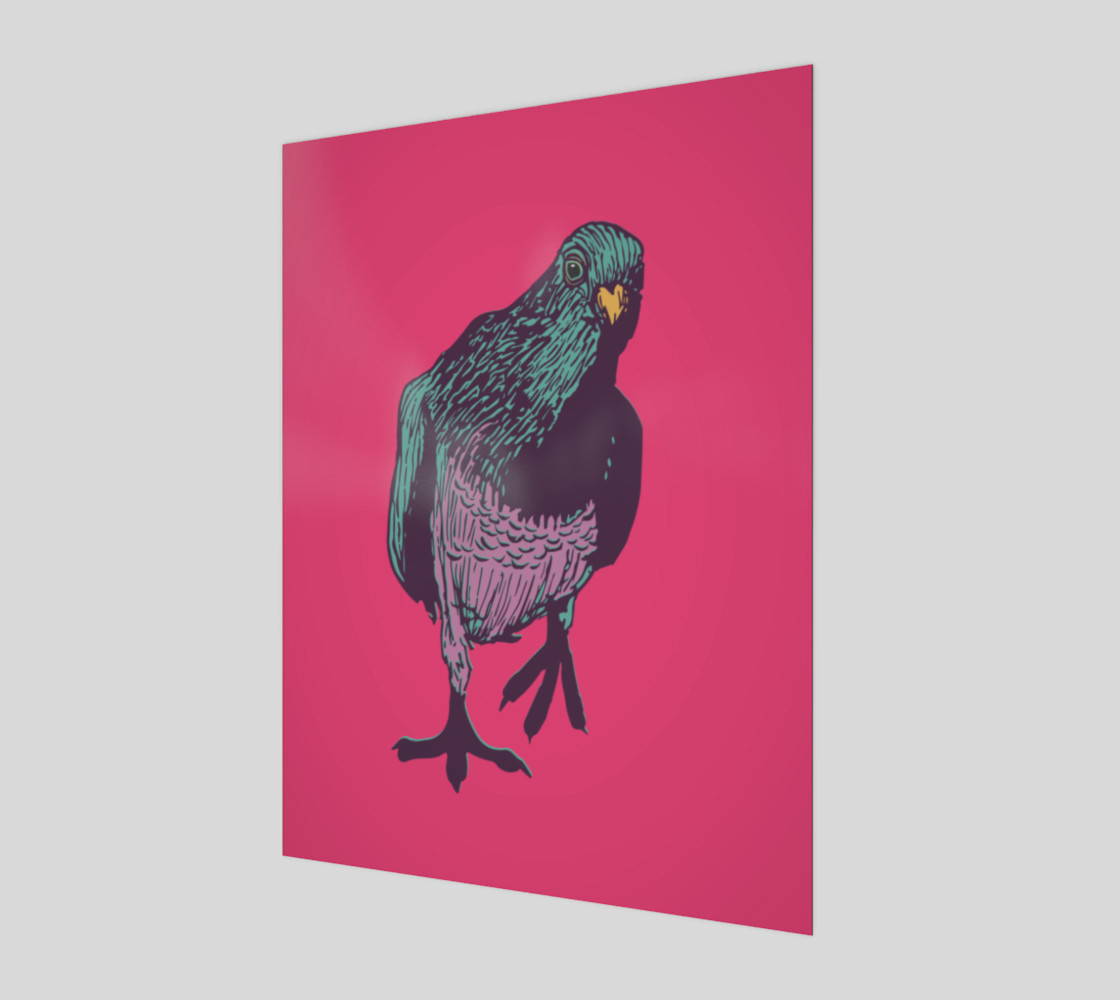 3:4 Art Print - Curious Pigeon in Bright preview #1