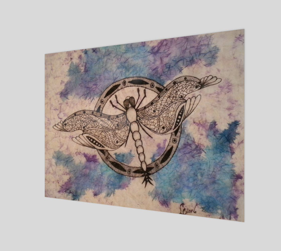 Watercolor Batik Dragonfly Print preview #1