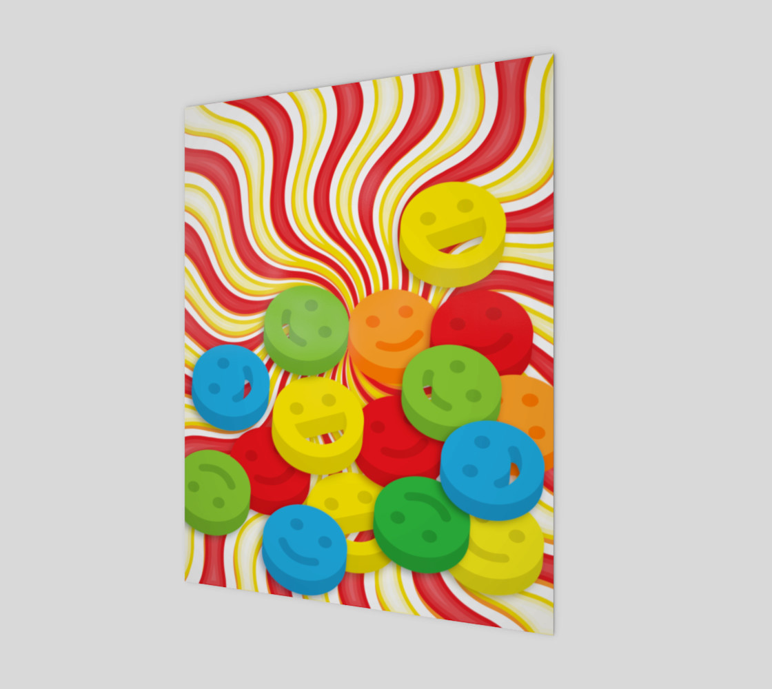 Rainbow Candy Swirls and Smiley Face Emojis Wall Art preview #1