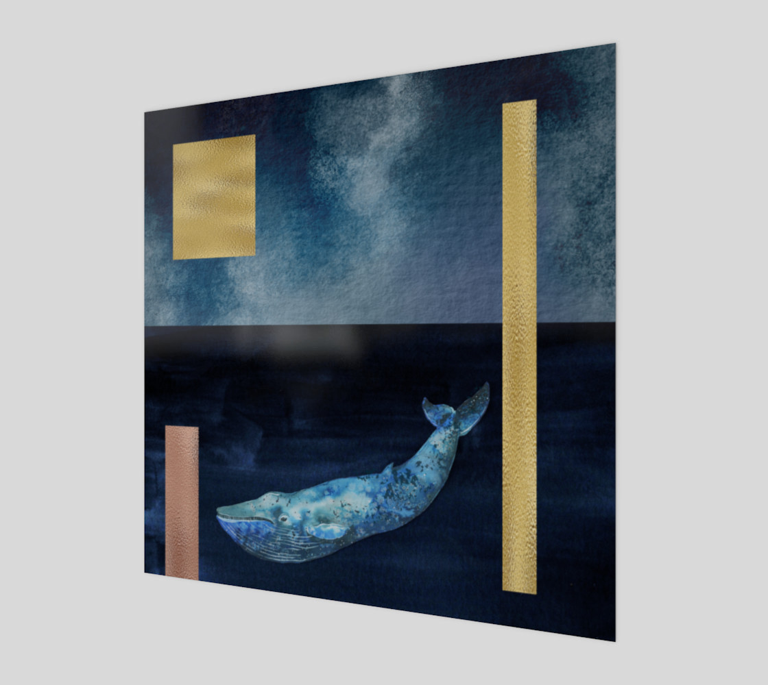 Blue Whale - Gold, Copper And Deep Blue Art Print preview #1