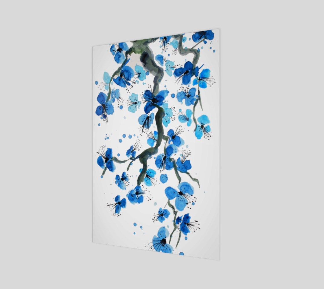 Blue Japanese Blossoms Art Print preview #1