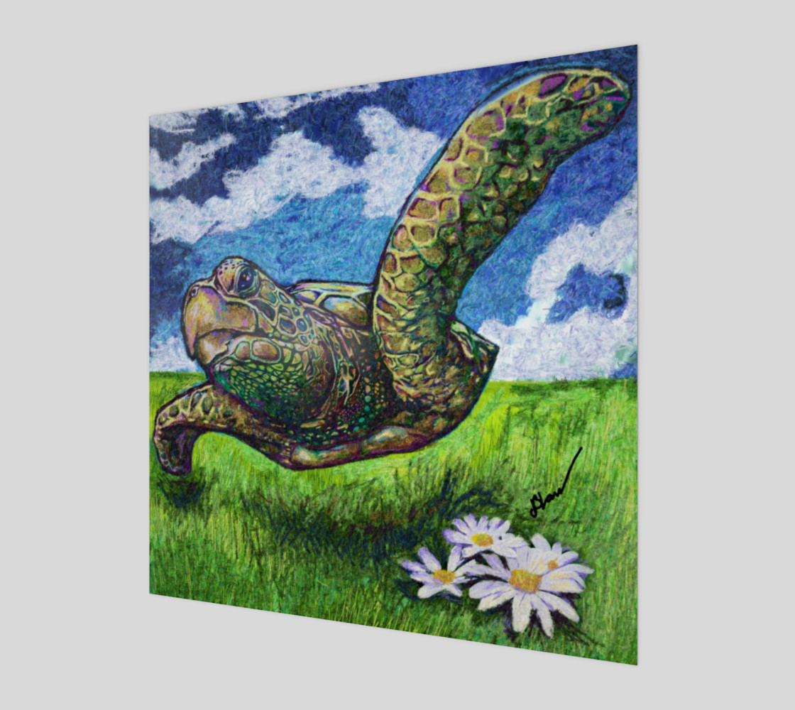 Flight Of The Sea Turtle on Wood preview #1