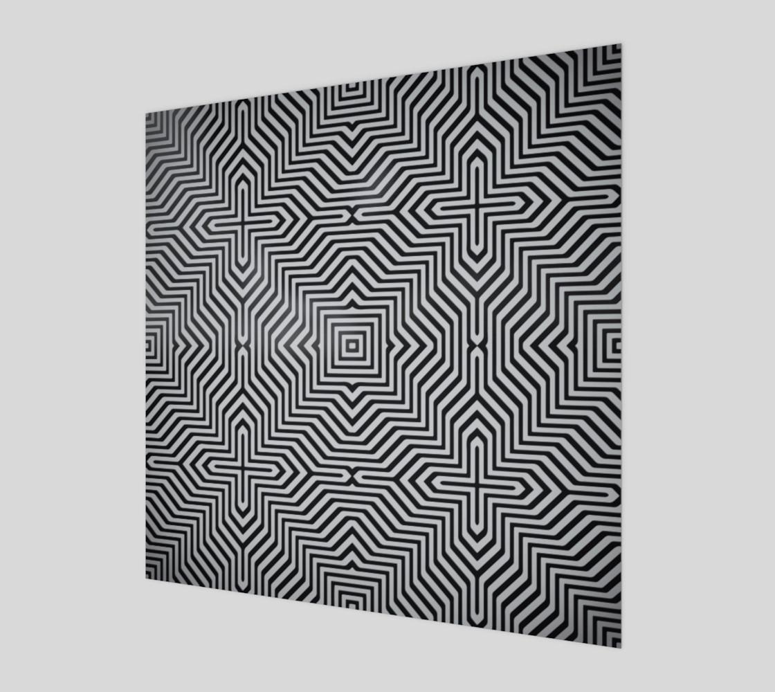 Minimal Geometrical Optical Illusion Style Pattern in Black & White  Miniature #2