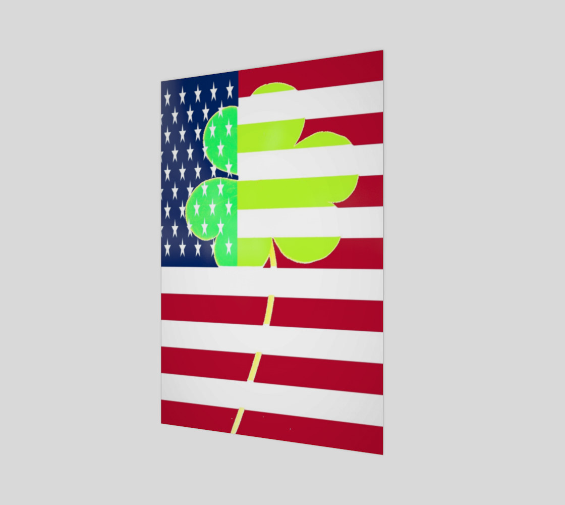 Aperçu de St. Patrick's Day Irish Shamrock Clover American Flag #1