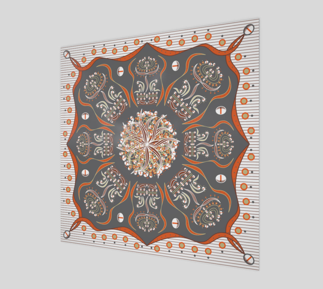 Exotic Flower | Orange | Gray | Beige | White preview #1