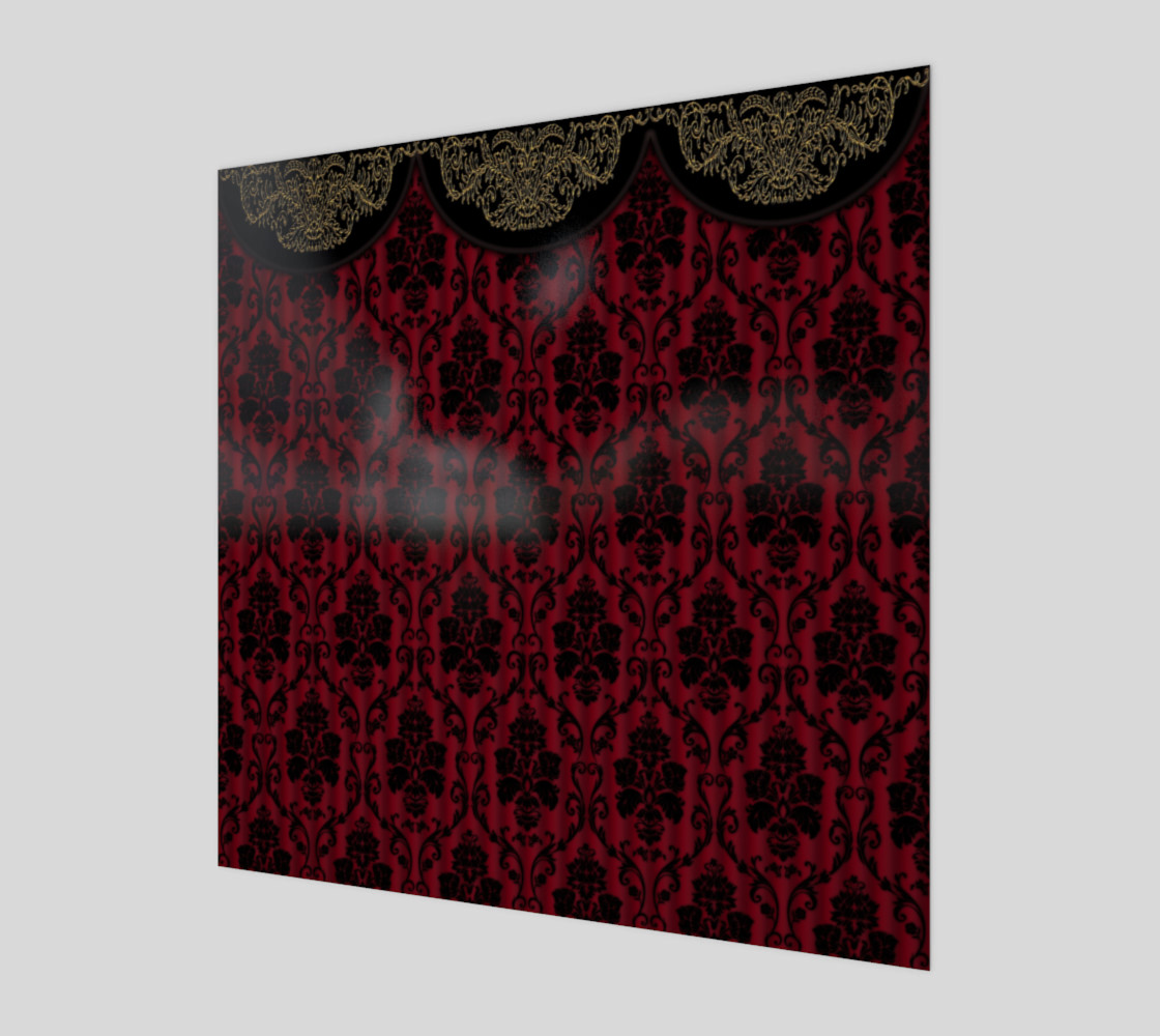 Elegant Black And Red Damask Antique Vintage Victorian Lace preview #1