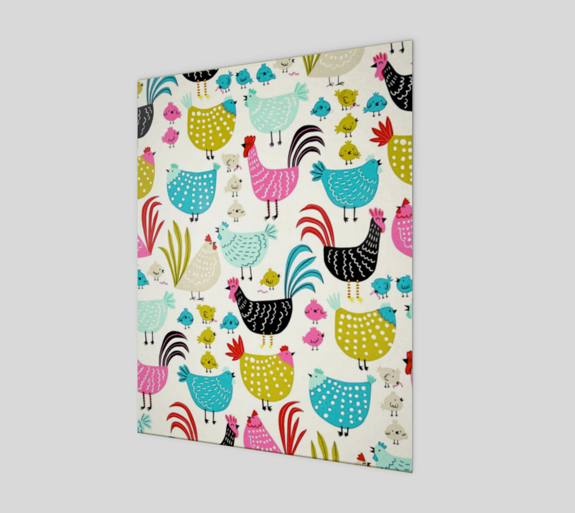 Colorful Fun Chicken & Rooster Print Miniature #2