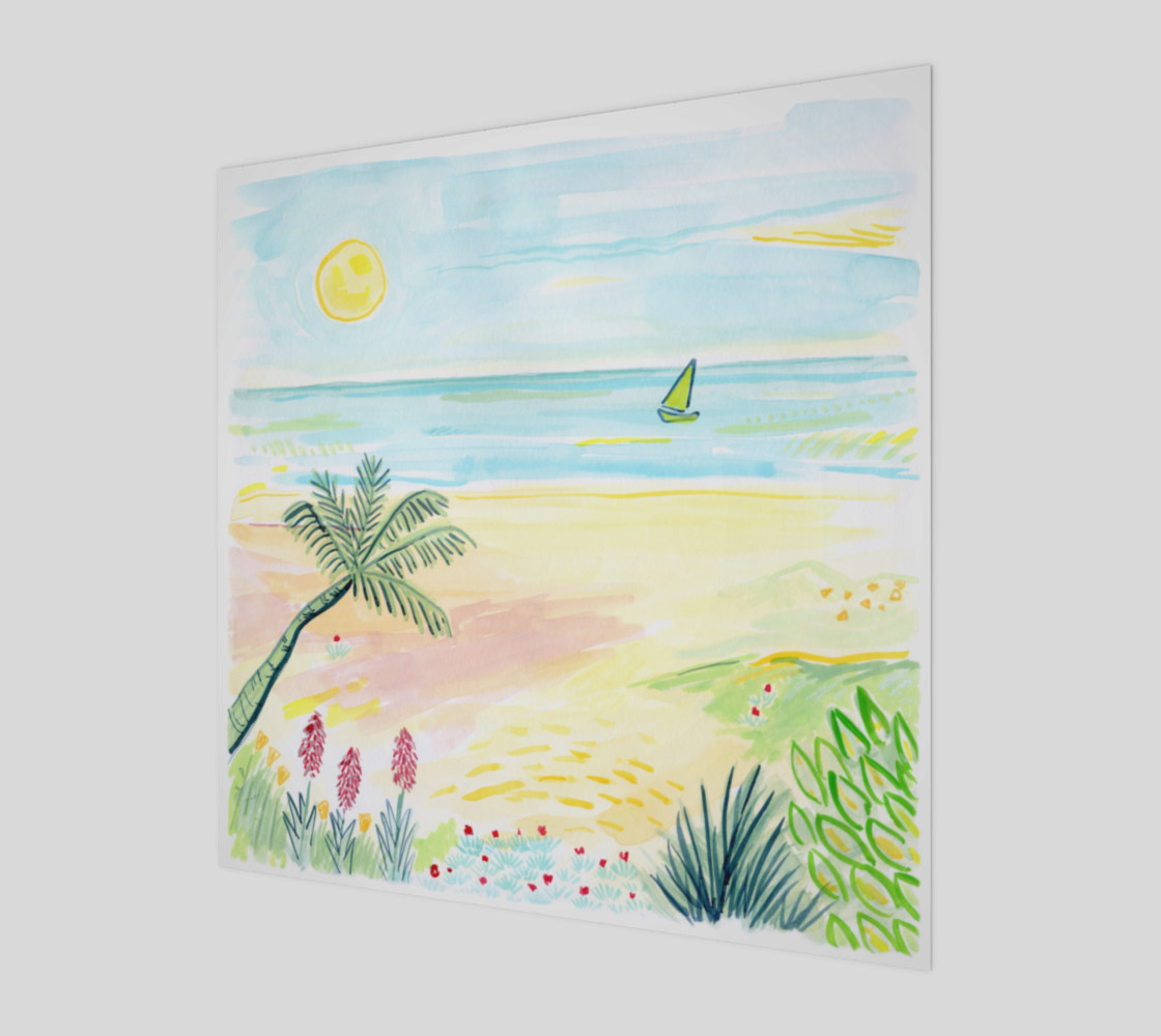 Beach Day Watercolor Fine Art Print preview #1