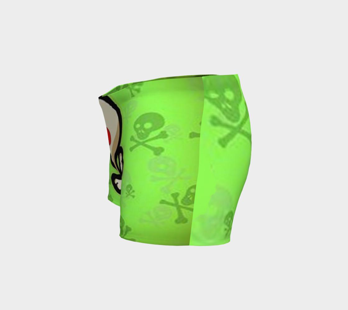 Cartoon Skull On Green Shorts preview #2