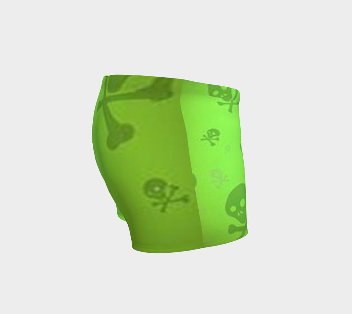 Cartoon Skull On Green Shorts preview #3