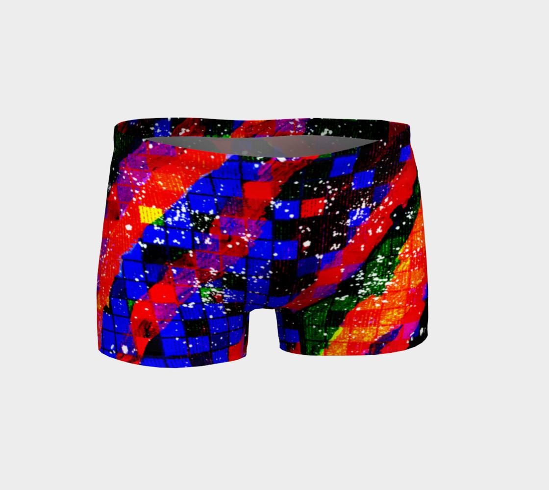Aperçu de Fiery Colorful Grunge Squares and Stripes Shorts #1
