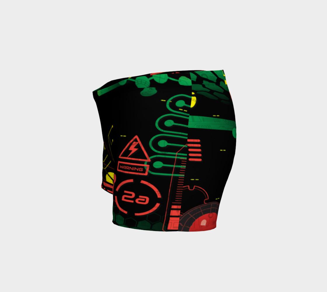 Aperçu de Futuristic Sci-Fi Techno Red Green Yellow Shorts #2