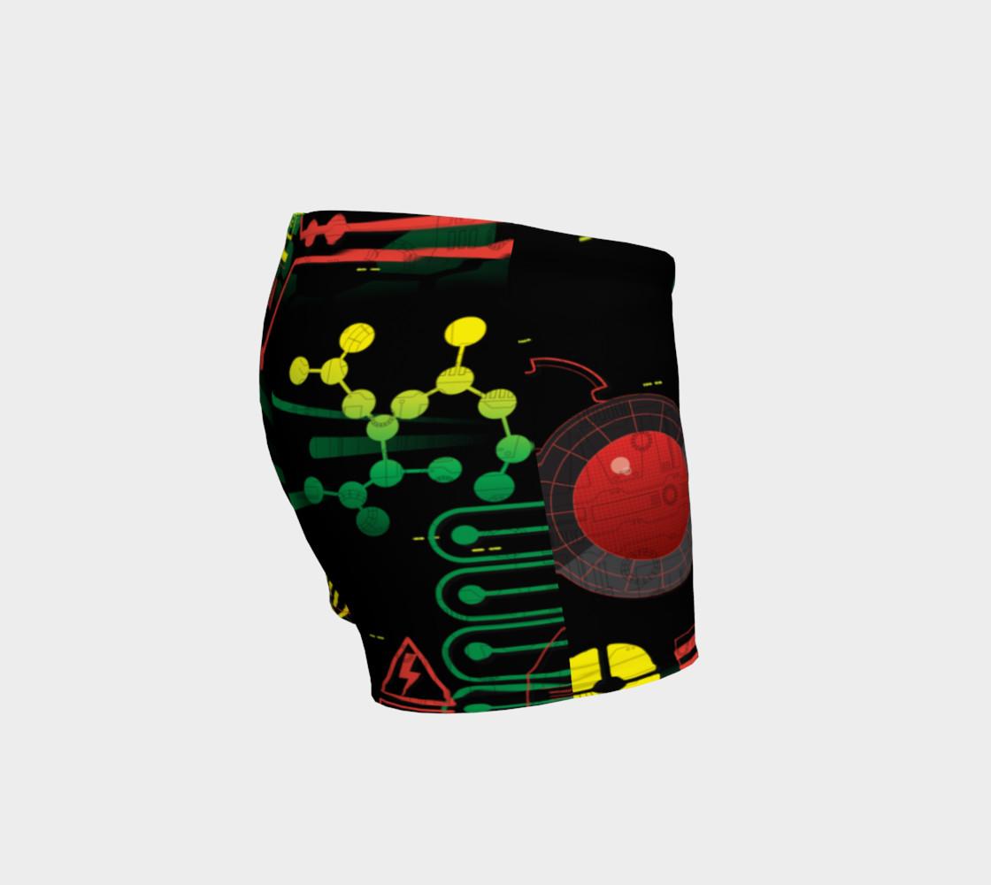 Aperçu de Futuristic Sci-Fi Techno Red Green Yellow Shorts #3
