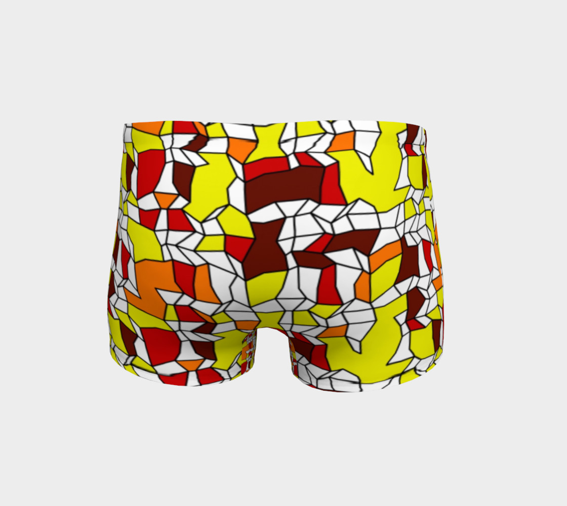 Yellow Burgundy Brick Geometric Fitness Shorts  preview #4