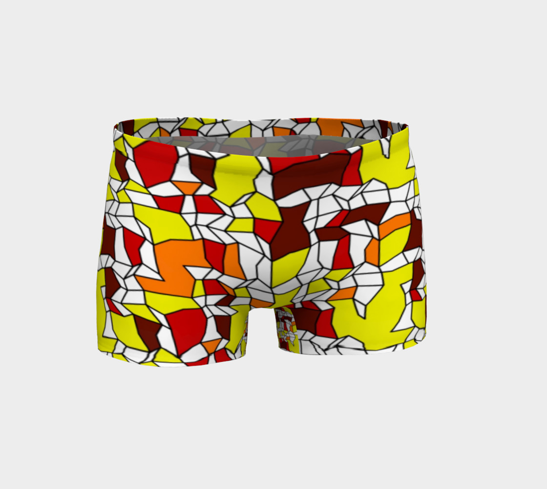 Yellow Burgundy Brick Geometric Fitness Shorts  preview #1