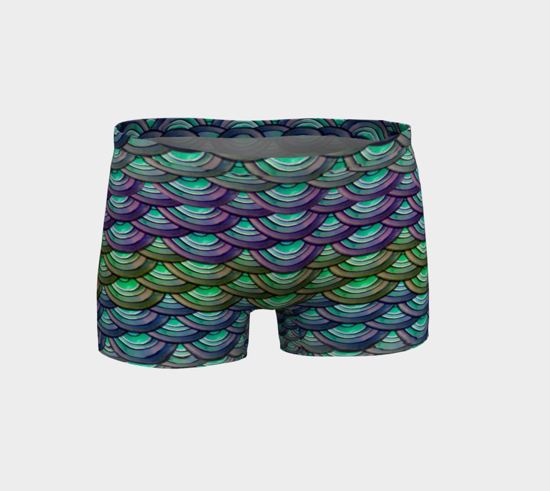 Mermaid, Serpent, Watercolor, Dragon Scales Shorts preview #1