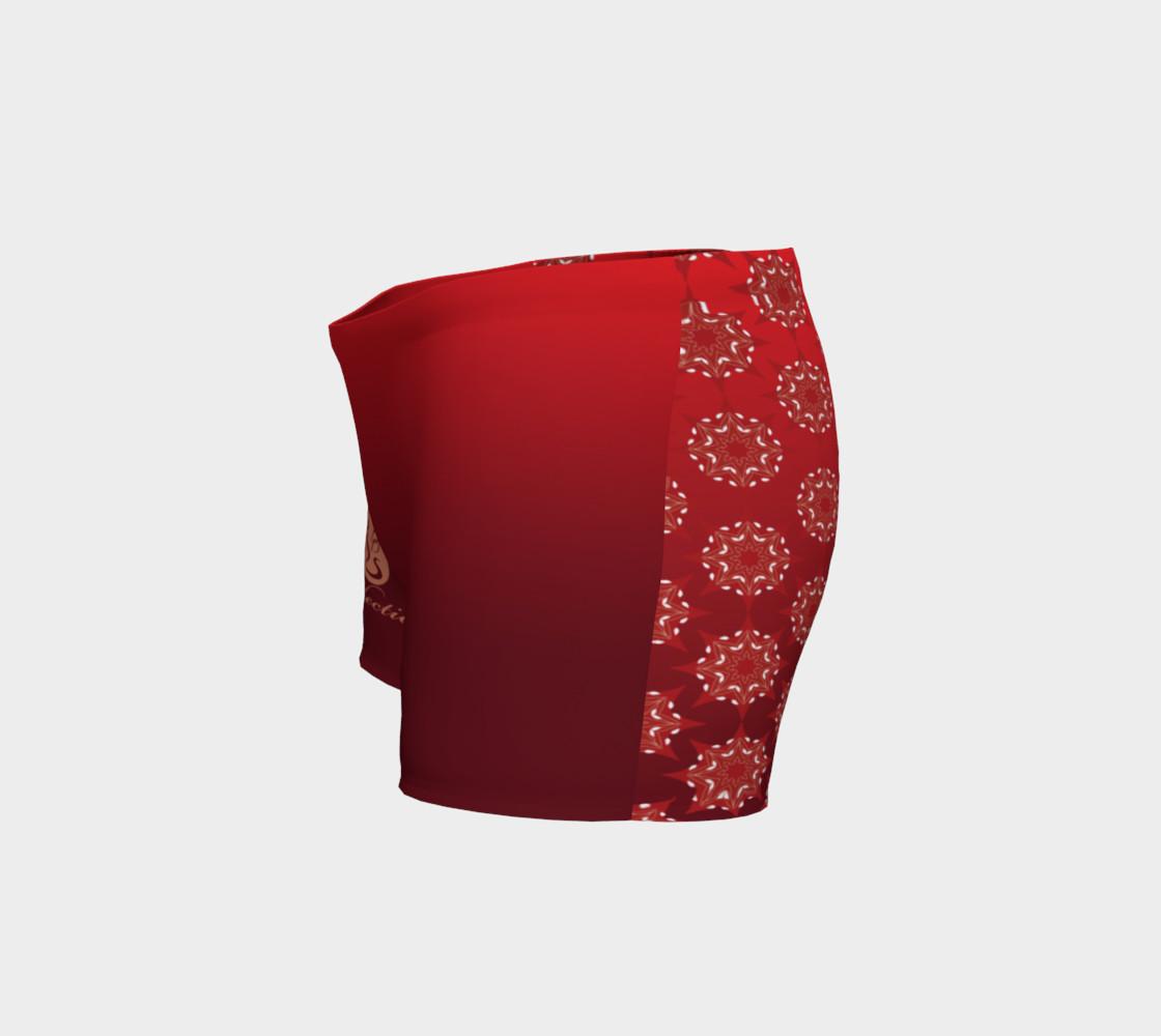 Aperçu de Platinum P Collection Workout Shorts Red Star Mandala Pattern #2