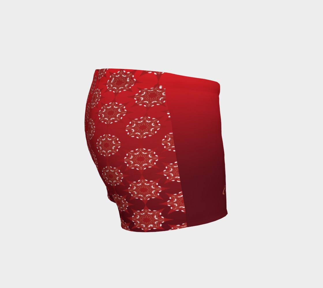 Aperçu de Platinum P Collection Workout Shorts Red Star Mandala Pattern #3