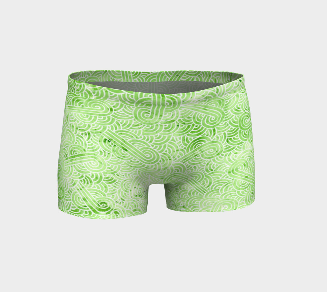 Greenery and white swirls doodles Shorts preview #1