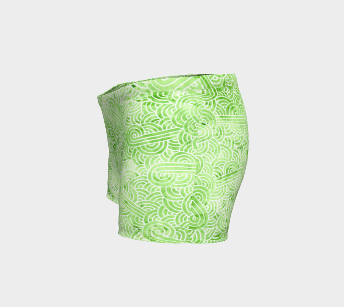 Greenery and white swirls doodles Shorts preview #2