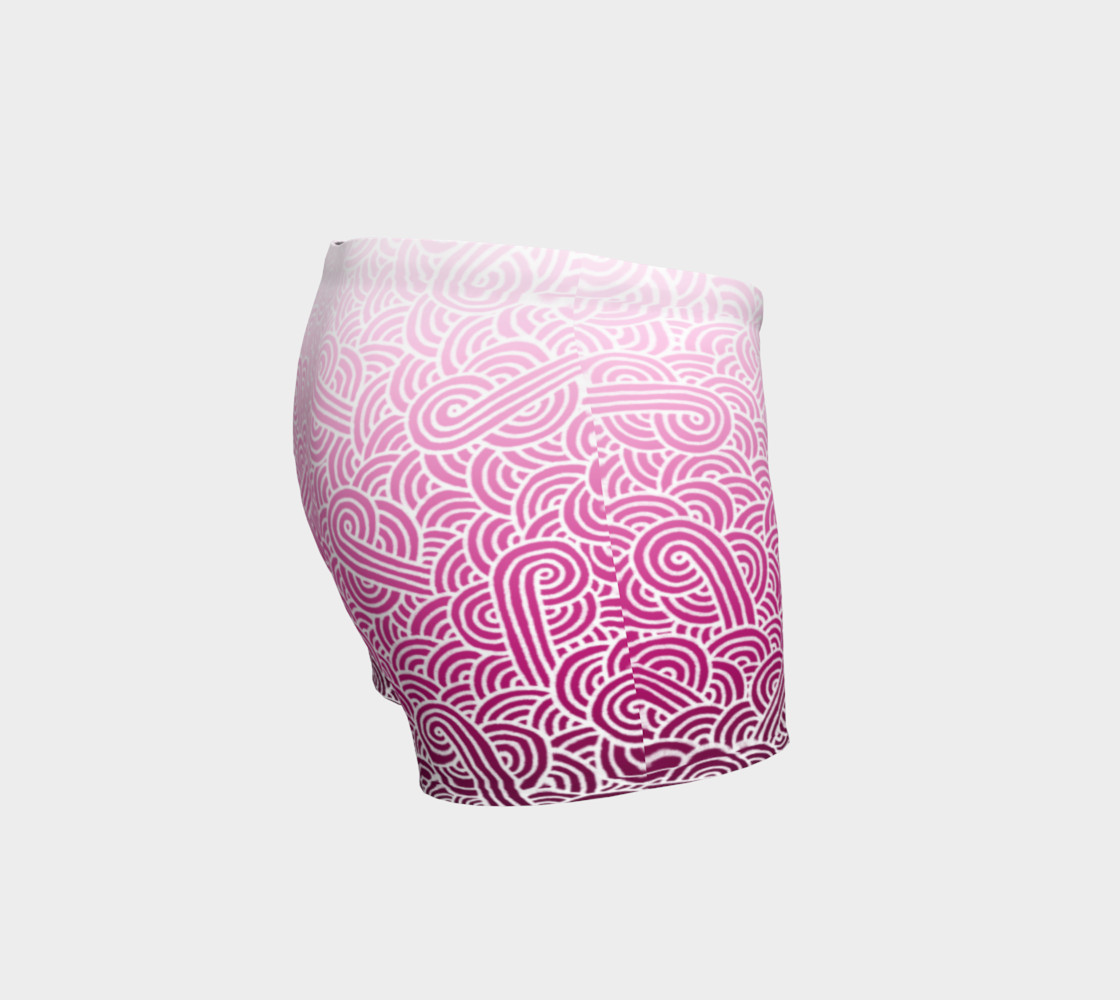 Ombre pink and white swirls doodles Shorts preview #3