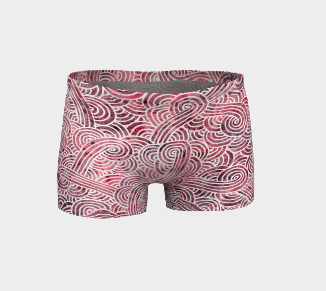 Red and white swirls doodles Shorts preview #1