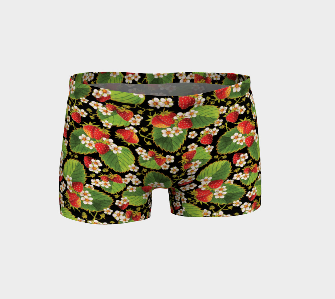 Strawberries on Black Shorts Miniature #2