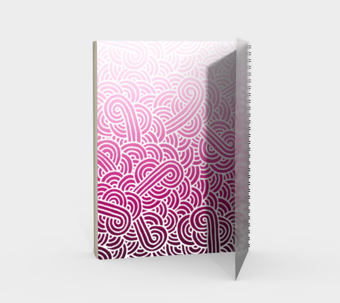 Ombré pink and white swirls doodles Spiral Notebook preview #2