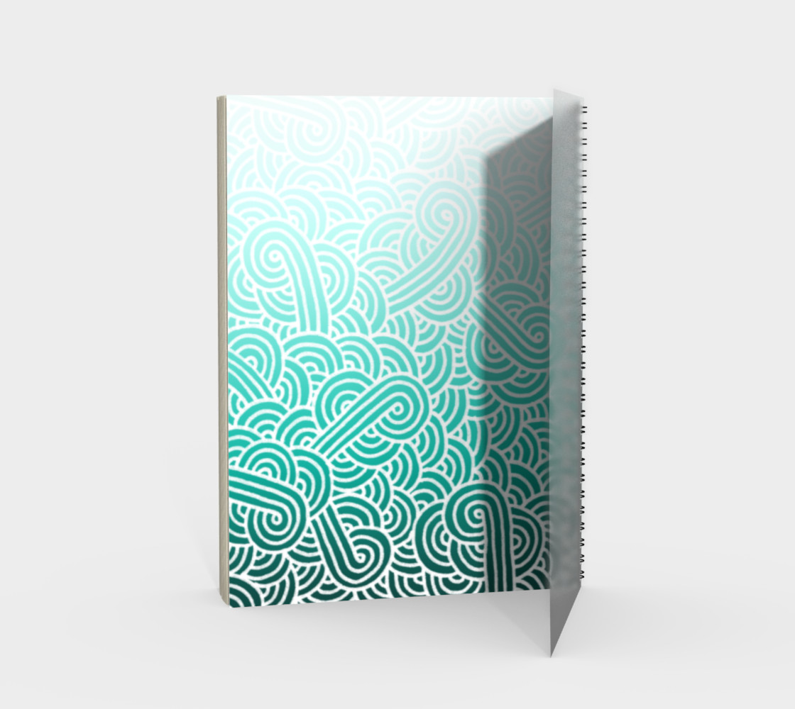 Ombré teal blue and white swirls doodles Spiral Notebook preview #2