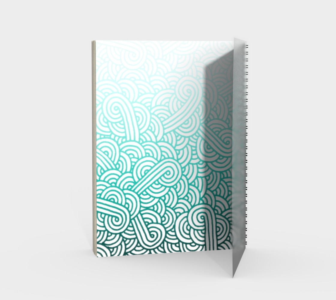 Gradient turquoise blue and white swirls doodles Spiral Notebook preview #2